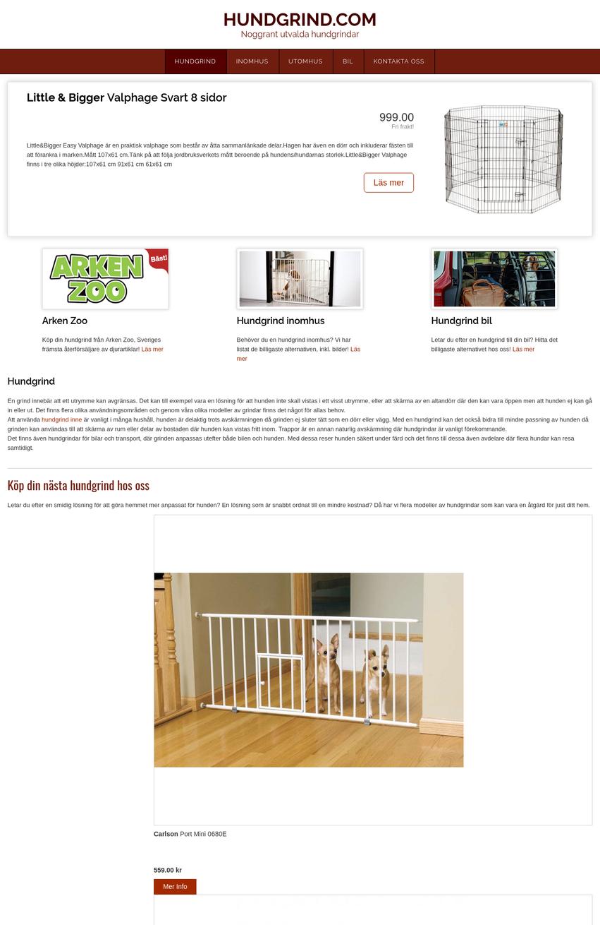 Hundgrind.com hemsida